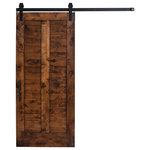 """Rustica Hardware - 36""""x96"""" Unassembled Wood Barn Door With Garrick Sliding Hardware and Falcon Pull - Reminiscent of plantation shutters, this barn door style pays subtle homage to traditional American interior design. This design has a southern charm that is perfectly modernized for looks that are very popular today. The Plantation barn door is composed of the hardwood trimmings from our shop, making sure each cut of wood contributes to a one-of-a-kind door."""
