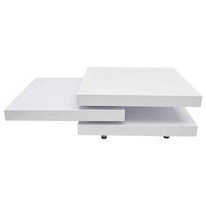 Coffee Table, White High Gloss, 3 Layer