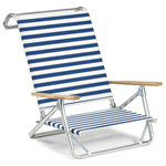 Telescope Casual Furniture - Mini-Sun Chaise Folding Arm Chair, Blue/White Stripe, Set of 2 - This Chair is 100% designed, manufactured, and assembled in the USA.