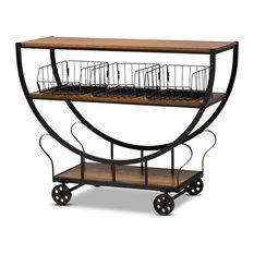 Baxton Studio Frieda Farmhouse Walnut Brown and Black Console Cart