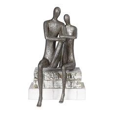 Elegant Modern Man Woman Shelf Sitter Sculpture   Romance Love Marriage Figurine