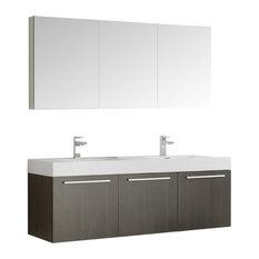 """Vista 60"""" Gray Oak Double Sink Bathroom Vanity and Medicine Cabinet"""