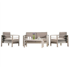 GDF Studio 4-Piece Sonora Outdoor Aluminum Loveseat with Cushions Set