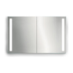 "LED Medicine Cabinet Sliding Mirror Doors & Defogger and 3 Glass Shelves,  48""x3"