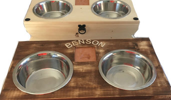 Bespoke Raised Dog Bowls with integrated paw print on clay tile