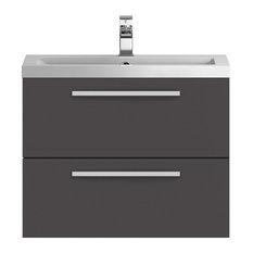 Bathroom Vanity Unit and Sink, Grey Gloss, 72 cm