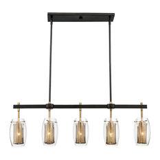 Dunbar 5-Light Trestle Chandelier, Warm Brass and Bronze