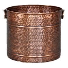 """Large Copper Planter, Hammered, 17.5"""""""
