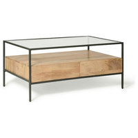 Logan Industrial Glass Top Coffee Table With 2 Drawers