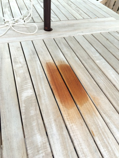 We Do Not Want To Stain Or Treat The Real Table With Teak Oil   So Anything  Other Than That?