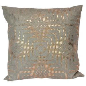 Rose Gold Aztec Lace on Grey Pillow, 51x51cm