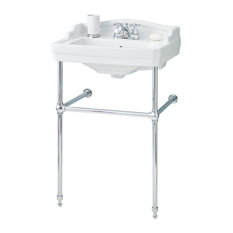 """Cheviot Products Essex Console Sink, 4"""" Faucet Drilling, Chrome Frame"""