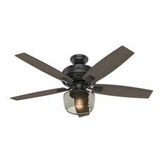 "Hunter  52"" Bennett Matte Black Ceiling Fan with Light with Handheld Remote"