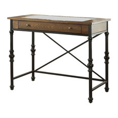 Wood And Metal Counter Height Table With One Large Drawer Walnut & Black