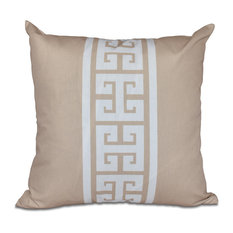 "Key Stripe, Stripe Print Outdoor Pillow, Beige And Taupe, 18""x18"""
