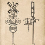 Keep Calm Collection - Railroad Crossing Signal Patent Art Print - High quality print on durable paper. Size: 12 x 18 inches. Printed in the USA and suitable for framing.