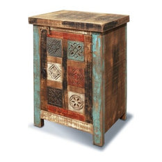 Rustic Distressed Reclaimed Hand Carved Wood End Table Night Stand Cabinet