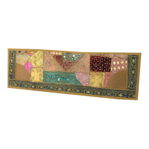 Mogul Interior - Consigned Antique Fabric, Green Sari Patchwork Sequin Embroidered Tapestry - Table Runners