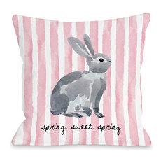 """Spring Sweet Spring Bunny"" Indoor Throw Pillow by OneBellaCasa, 18""x18"""