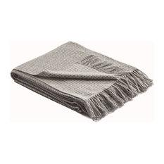 Merino Wool Tate Woven Throw, Gray/Ivory