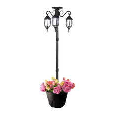 6.6' Tall Solar Lamp Post and Planter, 3 Heads, White Leds, Black