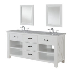 "Xtraordinary Spa 70"" White Vanity, Top: Carrara Marble, Without Mirror"