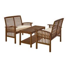 3-Piece Acacia Wood Patio Conversation Set, Dark Brown
