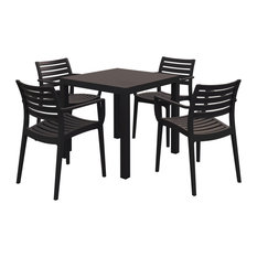 Artemis Resin Square Dining Set With 4 Arm Chairs, Brown