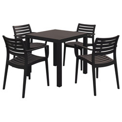 Transitional Outdoor Dining Sets Artemis Resin Square Dining Set With 4 Arm Chairs, Brown