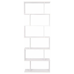 Free Standing Shelving Storage, White Finished Particle Board, S Shaped Design