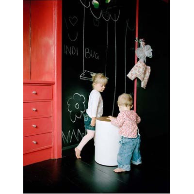 Eclectic  chalkboard with red wall