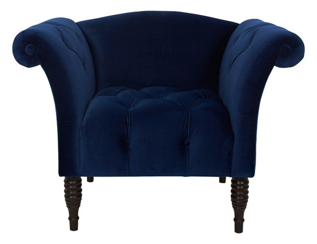 Gavin Velvet Effect Hand Tufted Armchair, Navy Blue