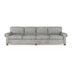 Leroy 10' Crushed Velvet Sofa Silver Streak Extra Deep