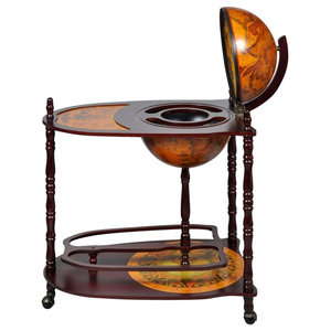 Traditional Bar Cabinet Globe, Solid Wood With Extended Table and 4-Wheel