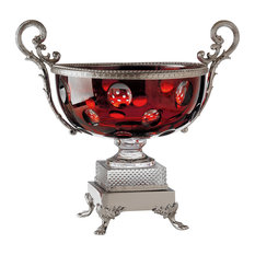 Traditional Crystal Glass Fontainebleau Bowl, Red and Silver
