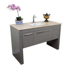 """Bellaterra 55.3"""" Single Sink Vanity, Gray-Cream Marble"""