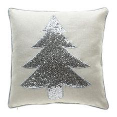 Christmas Tree Pillow, Silver