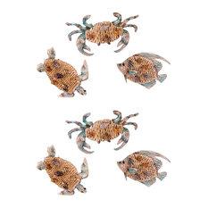 Key Biscayne Crab Sea Turtle and Fish Metal Napkin Rings Set of 6