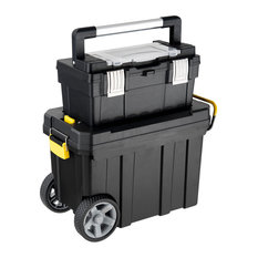 Costway 2-in-1 Rolling Tool Box Set Tool Chest Storage Organizer Portable Black