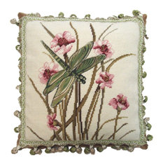 Dragonfly and Orchids Needlepoint Pillow