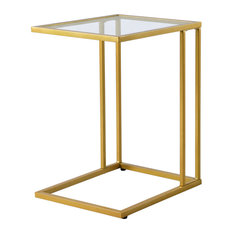Provenzano Glass Top C Table Gold
