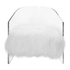 Worlds Away, Acrylic Barrel Chair With White Mongolian, Maggie Monw