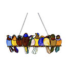 "9.5"" Stained Glass Birds on a Wire Window Panel, Multicolor"