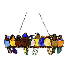 """9.5"""" Stained Glass Birds on a Wire Window Panel, Multicolor"""