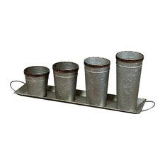 Metal Buckets On Tray, Gray