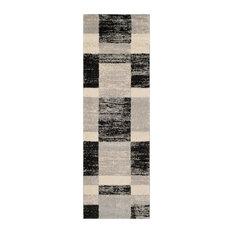 "Safavieh Retro Woven Rug, Black/Light Gray, 2'3""x7'"