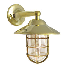 Solid Brass Nautical Starboard Sconce Shiplights (Indoor / Outdoor), Unlacquered