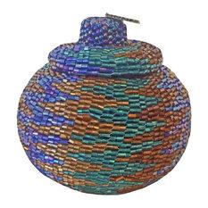 Manggis Handwoven Art Glass Basket, Peace Zigzag
