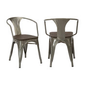 Tucker Metal and Wood Dining Armchairs, Set of 4