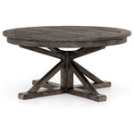 """Zin Home - Cintra Reclaimed Wood Expandable Round Kitchen Table 47"""", Gray, 63"""" - A welcoming, round farmhouse table draws the eye with its reclaimed wood top and a compelling architectural base in a rustic black olive finish. Easily extends to 79"""" with built-in leaf."""
